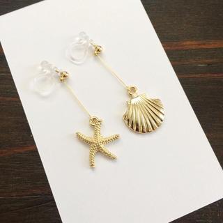 華奢見え♦︎上品にゆらゆら揺れるスターフィッシュ&貝のイヤリング