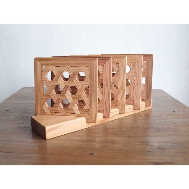 Original(オリジナル)の組子コースター:四角組子 ハンドメイドのインテリア/家具(アート/写真)の商品写真