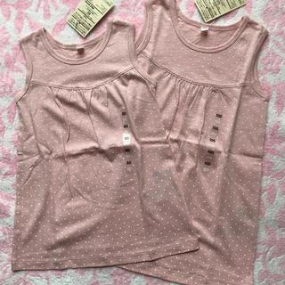 ムジルシリョウヒン(MUJI (無印良品))の《お値下げ》新品 無印 ノースリーブドットチュニック ピンク 80 100(Tシャツ/カットソー)