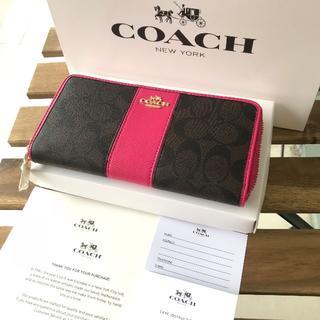 ♡美品 COACH(コーチ) 長財布 ♡F52859 ダークブラウン+ローズ