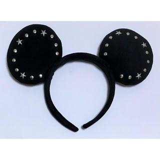 ディズニー(Disney)のディズニー ミッキー カチューシャ シンプル ロゴ 星 スター 黒 ブラック(カチューシャ)