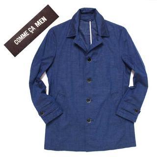 コムサメン(COMME CA MEN)のCOMME CA MEN ステンカラー リネン コート sizeS ブルー(ステンカラーコート)