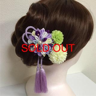 ♯194 半くす ちりめん髪飾り/4個セット 紫系(ヘアアクセサリー)
