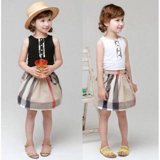 【新品】女の子 可愛い2点セットタンクトップ+チェック柄スカート キッズ(その他)