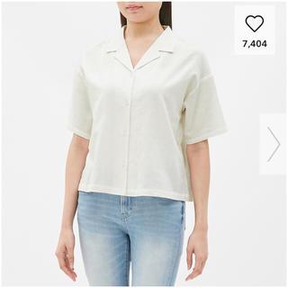 ジーユー(GU)のGU リネンブレンドオープンカラーシャツ(シャツ/ブラウス(半袖/袖なし))