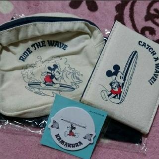 ディズニー(Disney)のミッキー ポーチ ミラー 付箋 セット(ポーチ)