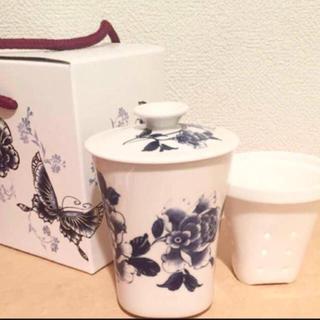 新品 陶器 茶こし付き 湯のみ マグカップ 食器 茶 コップ 茶器 急須(陶芸)