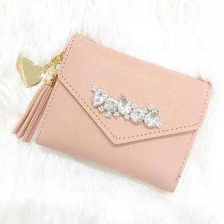 財布 二つ折り財布 ミニウォレット ビジュー ベージュ ピンク くすみピンク(財布)