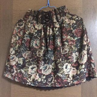 アクシーズファム(axes femme)の《6月末で終了》アクシーズファム▶︎スカート 花柄 茶色 リボン M(ミニスカート)