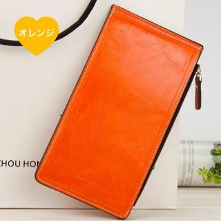 ★大人気〜新品未使用(オレンジ)★ レザー 二つ折 長財布 カードホルダー(財布)