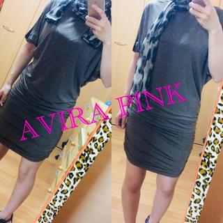 アビラピンク(AVIRA PINK)の《美品》豹柄スカーフ付きチュニック(ミニワンピース)