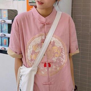 🇨🇳 中国 チャイナ 刺繍のピンクシャツワンピース(ミニワンピース)
