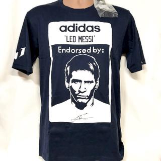 アディダス(adidas)のN様専用 紺白 Lサイズ 紙タグ付き adidas×メッシ コラボ 限定Tシャツ(Tシャツ/カットソー(半袖/袖なし))