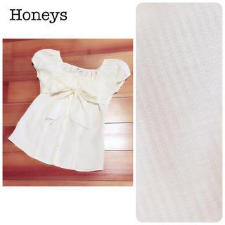 ハニーズ(HONEYS)のHoneys ハニーズ スクエアネックブラウス ストライプ リボン イエロー(シャツ/ブラウス(半袖/袖なし))