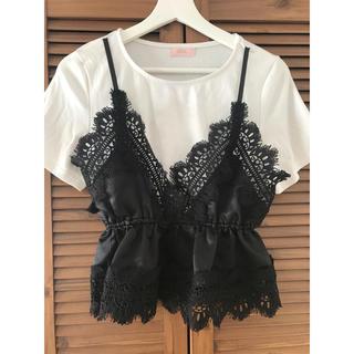 リルリリー(lilLilly)のlilLilly グロッシーサテンレイヤードトップス(Tシャツ(半袖/袖なし))