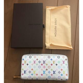 ルイヴィトン(LOUIS VUITTON)のルイヴィトン マルチカラー 白×ピンク ジッピーウォレット(財布)