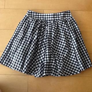 レトロガール(RETRO GIRL)のRETORO GIRL🌟白×黒ギンガムチェック サーキュラースカート(ミニスカート)