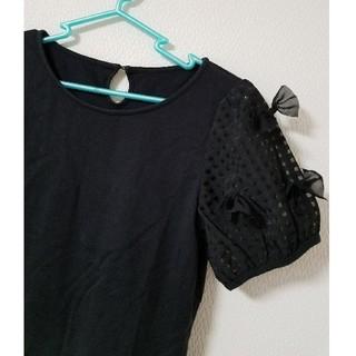 Tシャツ リボン チェック 黒 ブラック ワールド クチュールブローチ