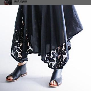 アンティカ(antiqua)のアンティカ    レース切替変形スカート ブラック黒 ウエストリブフリー(ロングスカート)