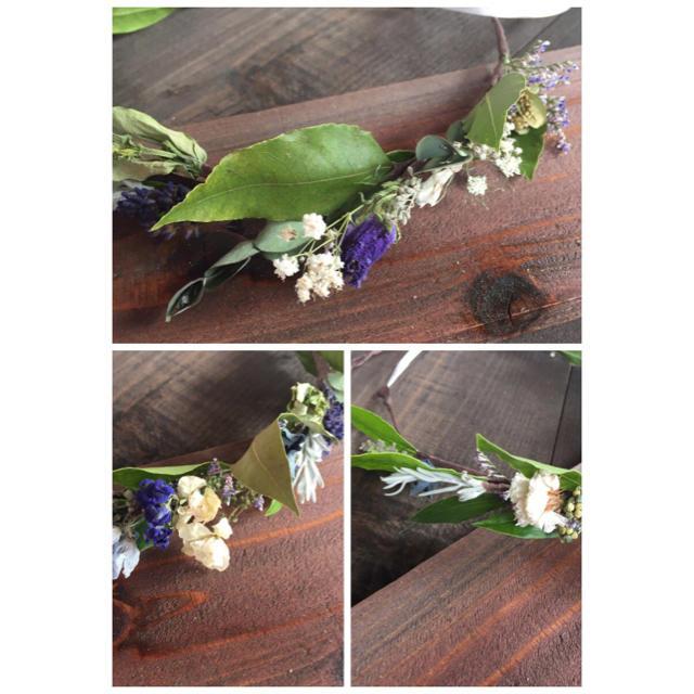 サンプル用!ドライフラワー リーフと小花のナチュラル冠 花冠 ハンドメイドのフラワー/ガーデン(ドライフラワー)の商品写真