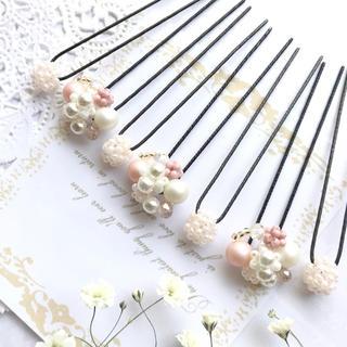 handmade*:♡ピンク系たっぷりビジュー&ビーズボールピン7本セット