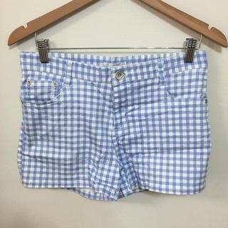 レトロガール(RETRO GIRL)のチェック ブルー 水色 ショートパンツ (ショートパンツ)