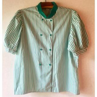 フレンチ ポップ ヴィンテージ  パフスリーブ コットン シャツ ストライプ(シャツ/ブラウス(半袖/袖なし))