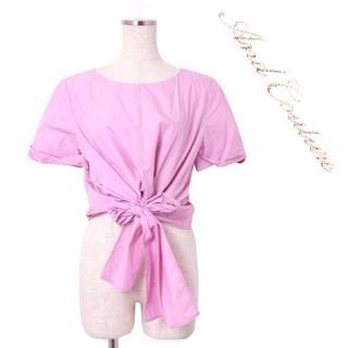 アンドクチュール(And Couture)のAnd Couture ウエストリボン ブラウス size38 ピンク(シャツ/ブラウス(半袖/袖なし))