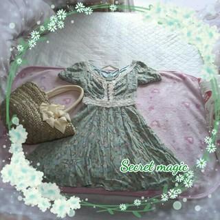 シークレットマジック(Secret Magic)の◻Secret magic シークレットマジック  花柄刺繍編みミニワンピース◻(ミニワンピース)