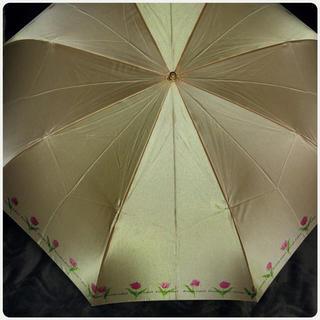 プライベートレーベル(PRIVATE LABEL)の美品 プライベートレーベル 2つ折り 折りたたみ傘 光沢感ある 鮮やかオレンジ(傘)