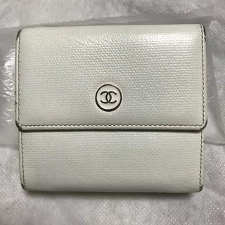 CHANEL - ホワイト系 Wホック 折り財布 ココボタン シャネル