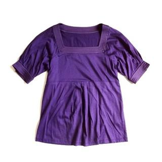 ロートレアモン(LAUTREAMONT)のLAUTREAMONT ロートレアモン スクエアネック カットソー 半袖 紫  (Tシャツ(半袖/袖なし))