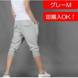 グレー☆M 7分丈 メンズ スウェット パンツ ボタン付 ハーフパンツ(ショートパンツ)