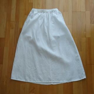 ムジルシリョウヒン(MUJI (無印良品))の【中古】無印良品  麻100%白スカート(ロングスカート)