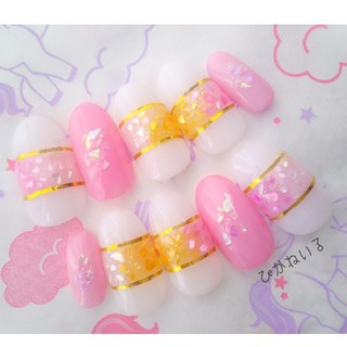 ピンク♡トロピカルシェル,ショートオーバルネイル