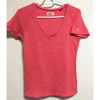 ハリウッドランチマーケット(HOLLYWOOD RANCH MARKET)のハリウッドランチマーケット VネックTシャツ サイズ2 ローズカラー(Tシャツ(半袖/袖なし))
