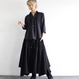 ❤️ユニセックス❤️ ドレープスカート風ワイドパンツ 黒