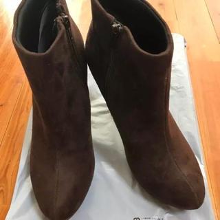 ユメテンボウ(夢展望)のショートブーツ スウェード ダークブラウン 24.5cm(ブーティ)