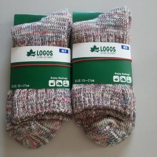 ロゴス(LOGOS)の2足 グンゼ ロゴス ソックス 靴下 ショート丈 ミックスブルー(ソックス)