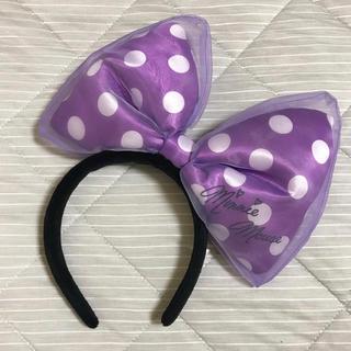 ディズニー(Disney)のミニー 紫リボンカチューシャ (カチューシャ)