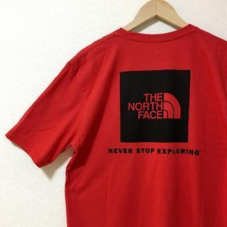 ザノースフェイス(THE NORTH FACE)の新品 ザ ノースフェイス 海外企画 半袖Tシャツ バックプリント 赤x黒XL(Tシャツ/カットソー(半袖/袖なし))