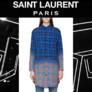 サンローラン(Saint Laurent)のSAINT LAURENT美品チェックシャツワンピースXS(シャツ/ブラウス(長袖/七分))