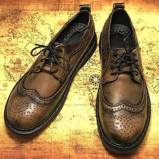 限定オーダー メンズ ヴィンテージ調シューズ 茶 ブラウン  スニーカー ブーツ