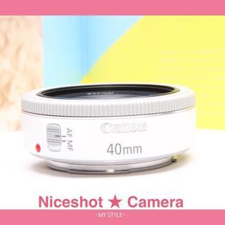 キヤノン(Canon)の新品級★キャノン EF40mm STMホワイト★人気のパンケーキレンズに挑戦★(レンズ(単焦点))