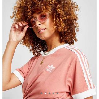 adidas - 海外限定 激レア 日本未発売カルフォルニアTシャツ3ストライプT アッシュピンク