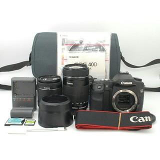キヤノン(Canon)の一品限り♪★iPhoneへ写真を転送!!★Canon 40D ダブルレンズ♪(デジタル一眼)