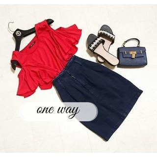 one*way - oneway 肩開きトップス ハイウエストデニムスカート セット