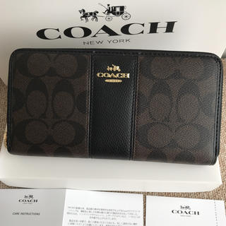 COACH - コーチ長財布 COACH ラウンドファスナー チョコxブラック