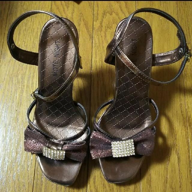 ラインストーンリボンサンダル レディースの靴/シューズ(サンダル)の商品写真