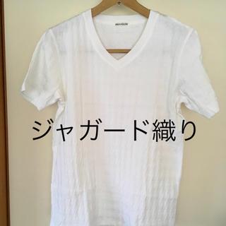 アバハウス(ABAHOUSE)の美品です!ABAHOUSE アバハウス ジャガード織り Vネック Tシャツ(Tシャツ/カットソー(半袖/袖なし))